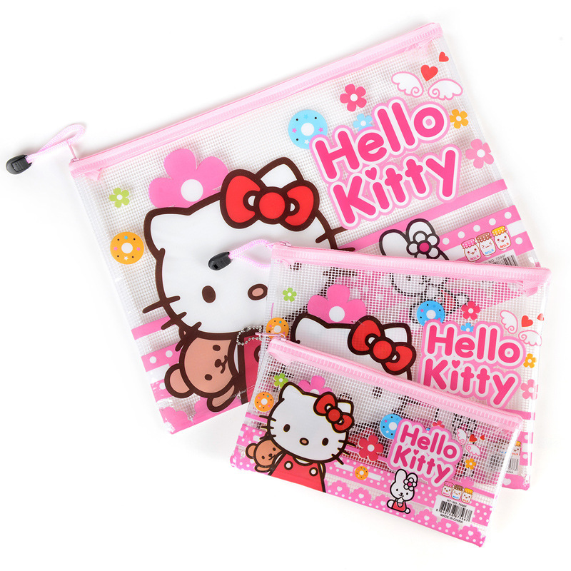 3pcs/set Hello kitty Office Cosmetic Make Up Pencil Bag Pouch Case File Bags Cute Statio ...