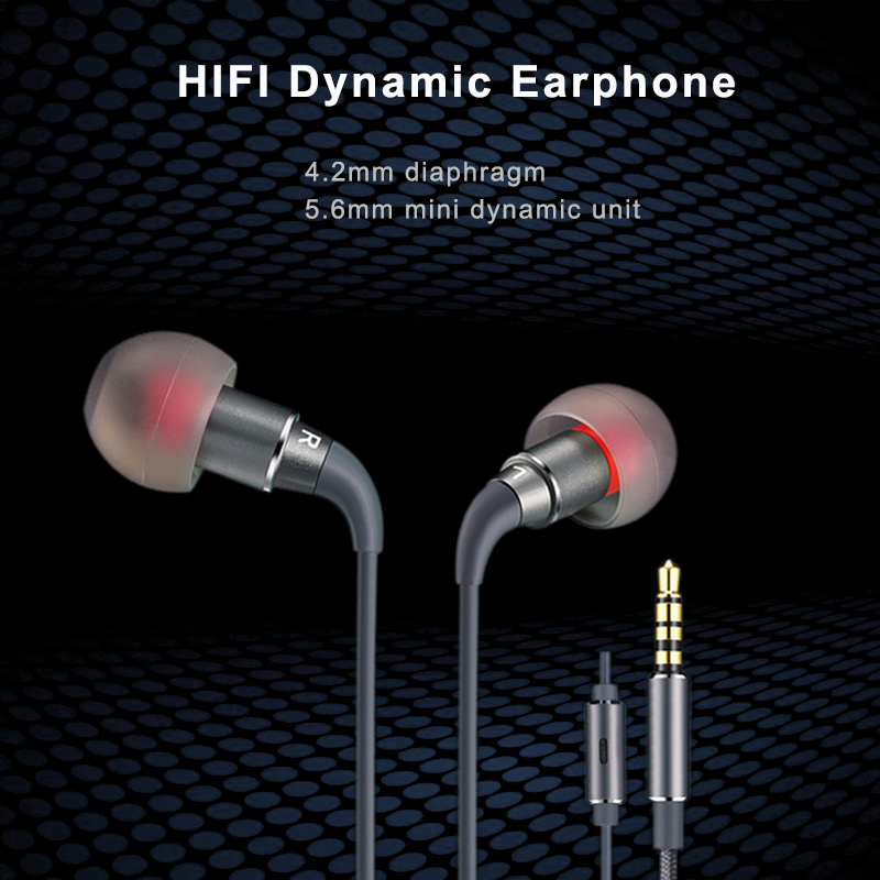 Elistooop  HIFI Stereo Music Earphones In-Ear Noise Canselling Graphene Earbuds Mini Wired Metal Bass Graphene Headsets Micphone
