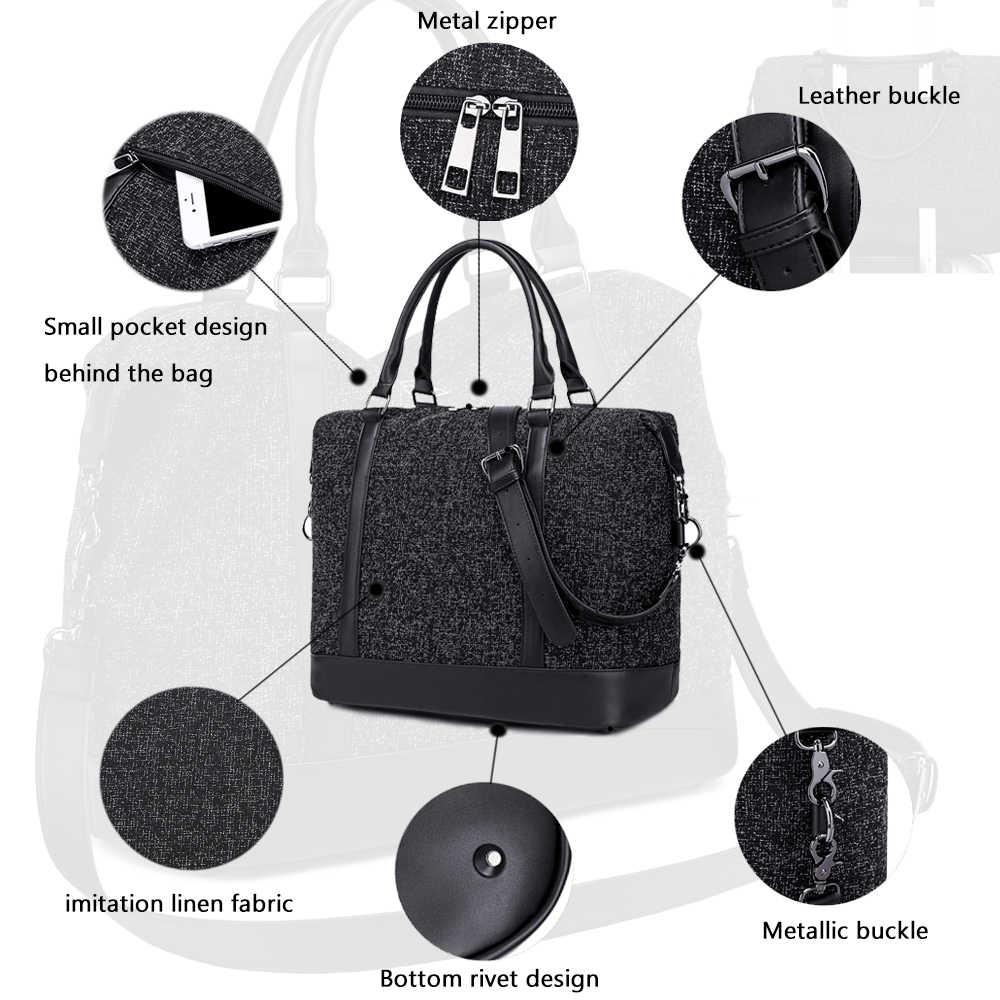 MARKROYAL Leisure Oxford Тканевые для путешествий сумка подходит для ноутбука женская сумка ручной клади с багажной сумкой Tote Night Weekender черный и серый