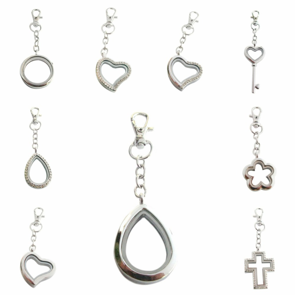 10pcs Floating Charms Plain Round 30mm Copy Stainless Glass Locket with Chain