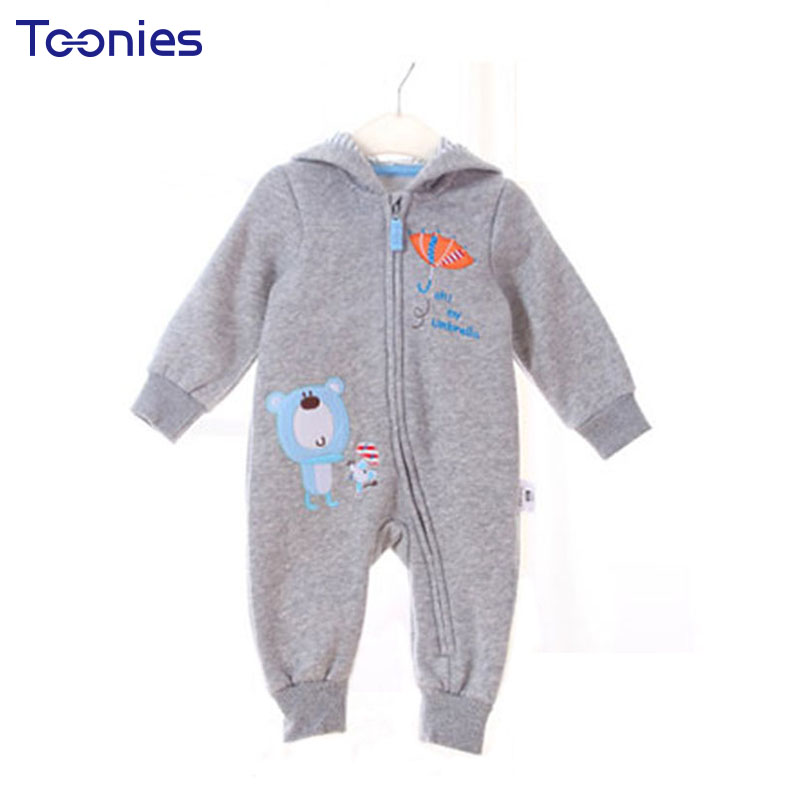 2018 Cartoon Newborn Clothes Thick Baby Romper Winter Kids Climb Clothing Long Sleeve Zipper Infant Jumpsuit High Quality Cotton infant newborn baby girl summer casual clothes big ruffles sleeve watermelon romper outfits sunsuit jumpsuit clothing