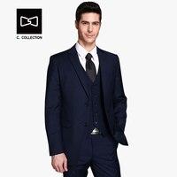 2018 Men Business Suit Tuxedo Slim fit Classic Male Suits Blazers Luxury Suit Men Two Buttons 3 Pieces(Suit jacket+pants+vest)