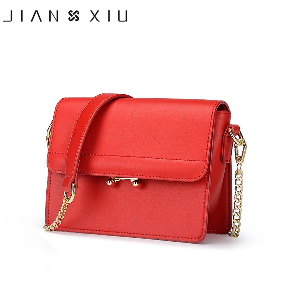 JIANXIU Brand Fashion Women Messenger Bags Split Leather Shoulder Crossbody Chain Bag Small Solid Color 2017 New Bolsas Feminina women shoulder bags leather handbags shell crossbody bag brand design small single messenger bolsa tote sweet fashion style