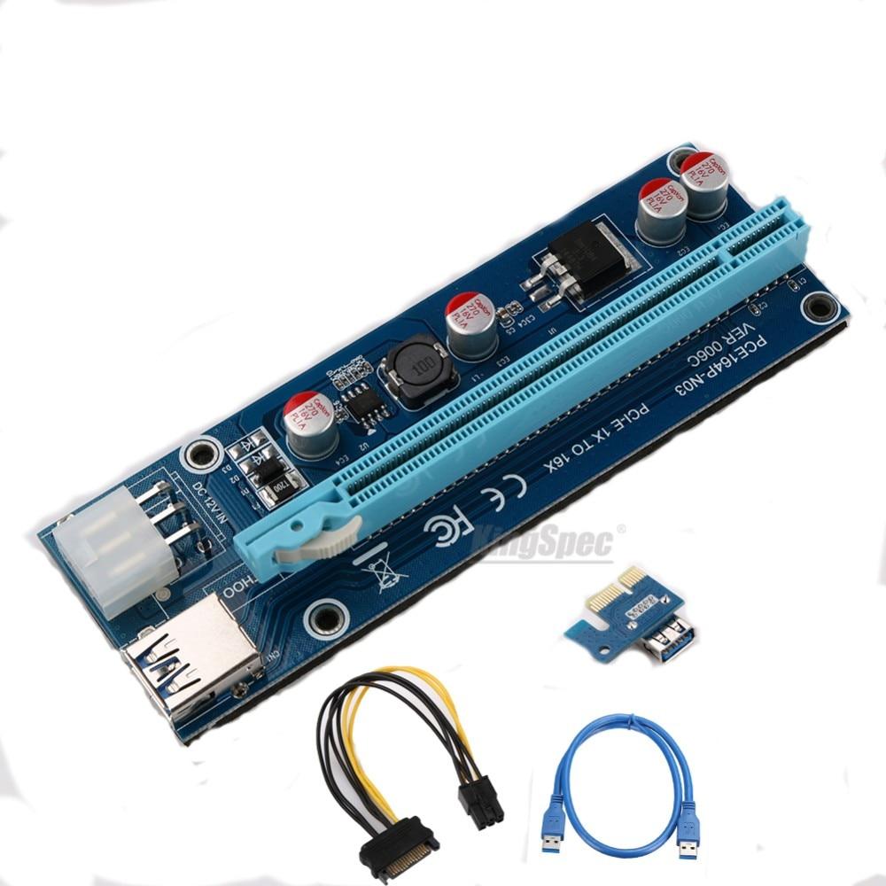 Ver006c pci-e 1x к 16x горной машины Enhanced Extender Riser Card адаптер с 60 см (2 фута) USB 3.0 и SATA Мощность кабель