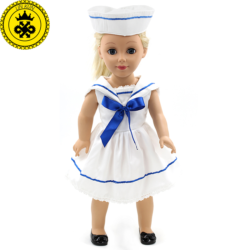цены American Girl Dolls Clothing White Nurse Dress + Hat Set Dolls Clothing of 18 inch Doll Dress Girl Best Birthday Gift MG-180