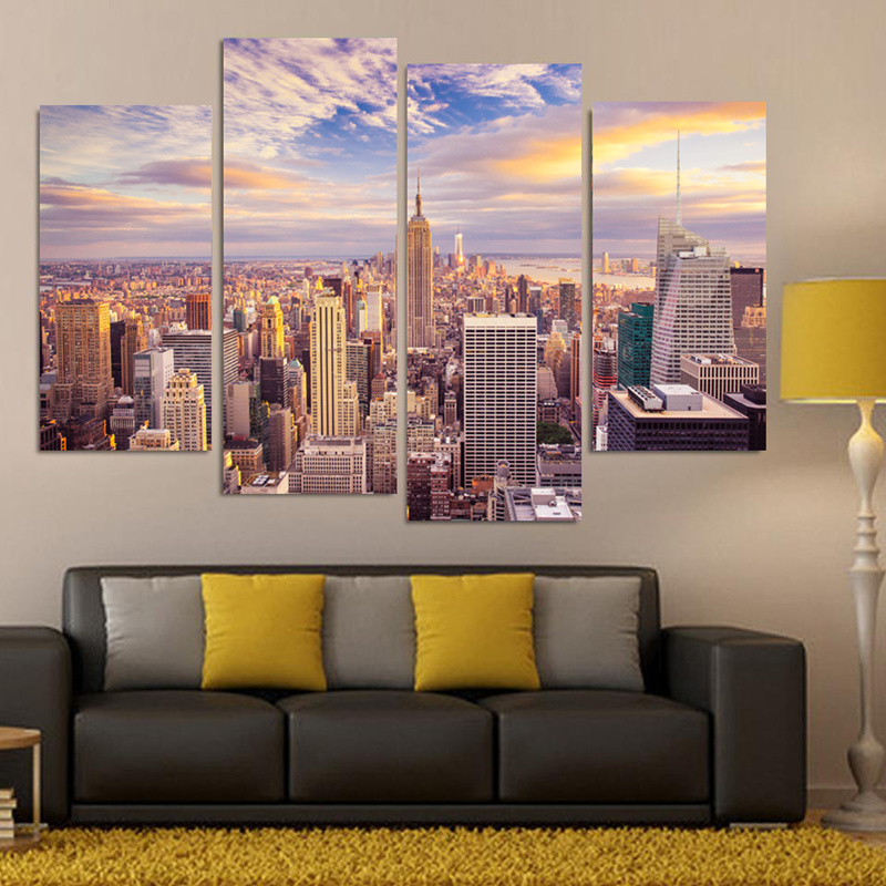 New York City Modern Canvas Painting Print Picture Home: 4 Pieces New York City Landscape Wall Picture Home