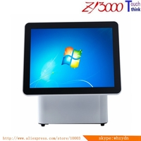 All in one dual screen POS system 15 Inch double screen PC Touch Screen pos terminal / all in one touch screen pc