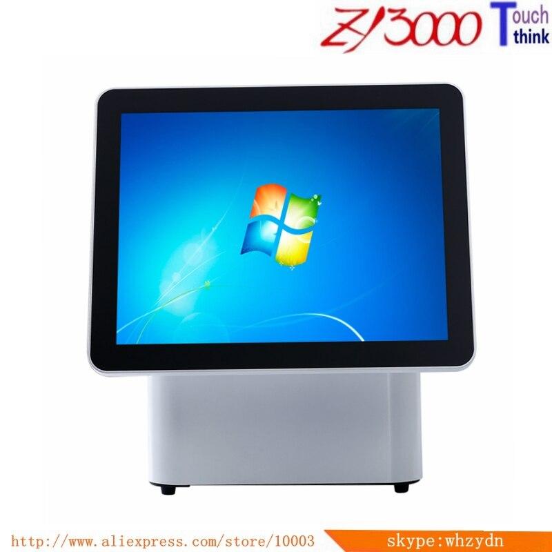Tout en un double système de position d'écran 15 pouces double écran PC terminal de position d'écran tactile/tout en un pc d'écran tactile
