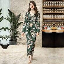 Luxury Long Sleeve Floral Satin Robe Sleepwear Smooth Ankle-Length Robe For Women  Nightwear Dark Green Bath Robe Soft Nightgown b689687cf