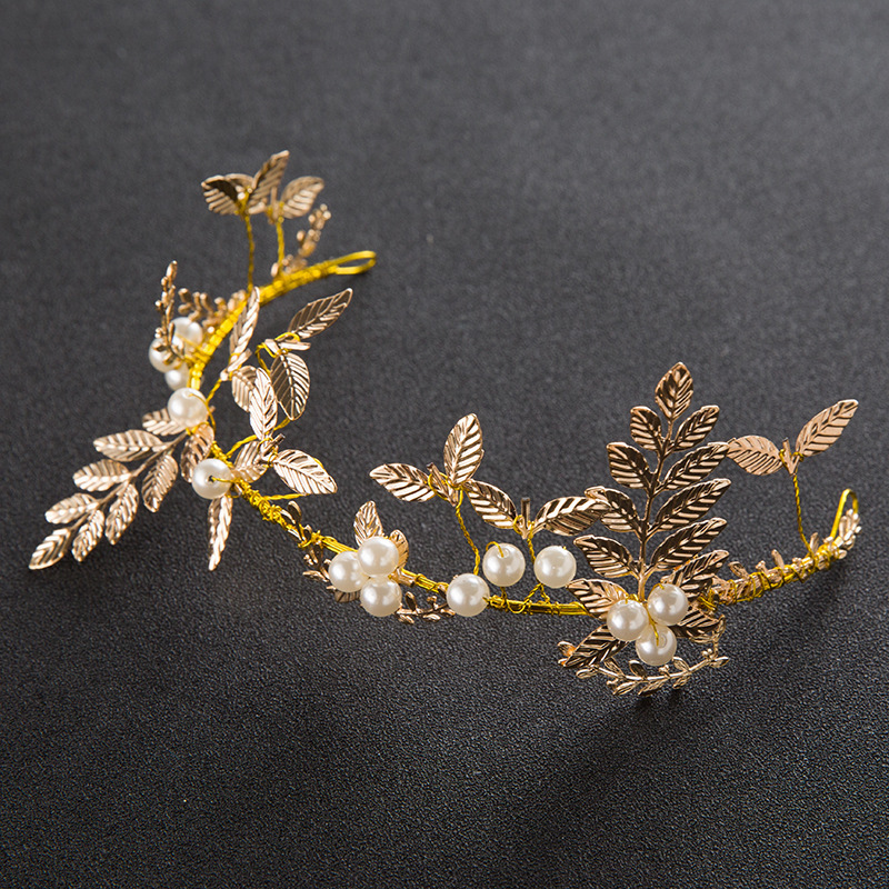 Bride Gold Leaf Headband Handmade Golden Soft Chain Front Jewelry Wedding Hair Jewelry Wholesale