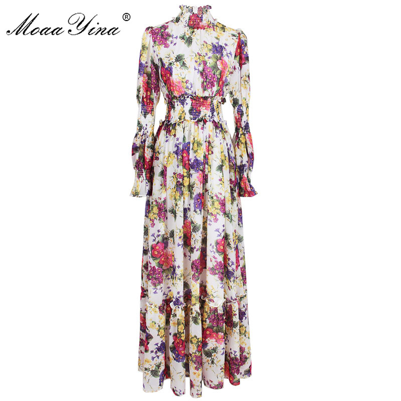 MoaaYina High Quality Women s Summer Beach Chiffon Turtleneck Dress Elegant Elasticity Waist Floral Print Runway