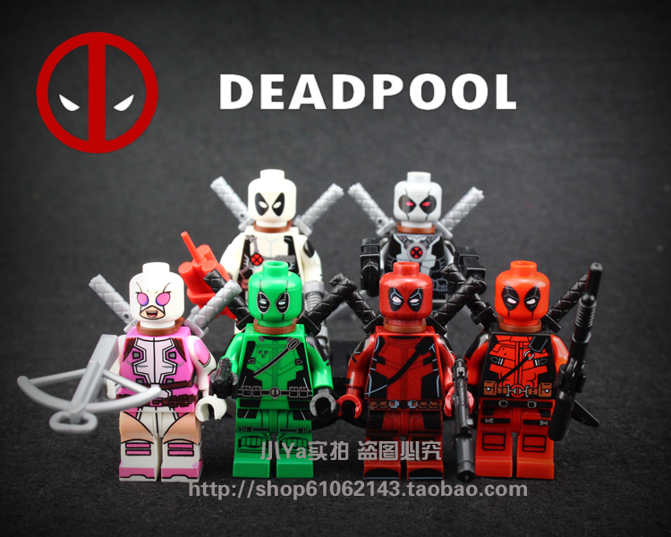6pcs/lot Super Heroes red /white Deadpool Figs Wilson Mutants ABS Figs Marvel Building Blocks Toys Compatible with lego