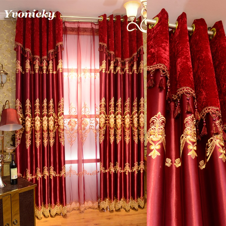 New Hot Sale Luxury Red Cloth Curtains Voile Curtain for Living Room Bedroom Festival Wedding Tulle Embroidery Red Fabrics
