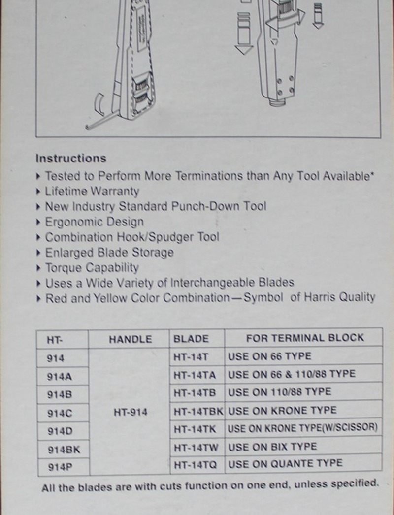 Impact Punch Down Tool 110 88 Blade Network Cable Wire Cut Ht 914b Cat 5 24 Wiring Diagram 2