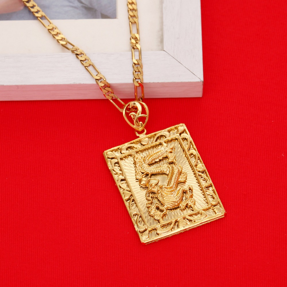 Wholesale New Fashion Real 24K Gold Plating Necklace Pendant Man Jewelry Dragon Gold Chain Hiphop Rock Jewelry
