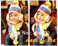 Winter Children Fashion Warm Knitted Beanies Rabbit Hat Scarf Set Purple Blue Turquoise Yellow Hot Pink