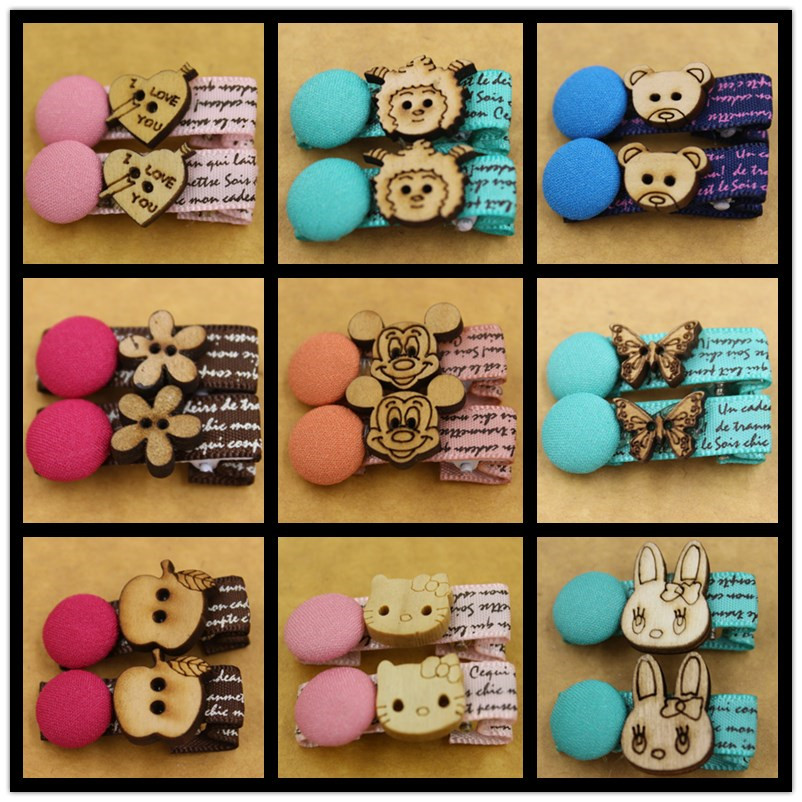 (KAKU0054)2015 New 10pcs/5pairs/lot Baby Kids Barrettes Hair Clips Wood Mickey Heart Bears Butterfly Hair Tie 9 Style 5 Colors