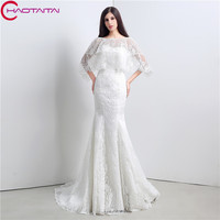 Romantic Ivory Long Sexy Mermaid Bride Dresses Lace Up With Detachable Cheap Wedding Dress 2018