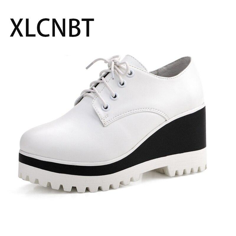 Women's Shoes Platform Wedges Lace-Up High-Heel Big-Size Ladies Autumn Spring 8cm Pu