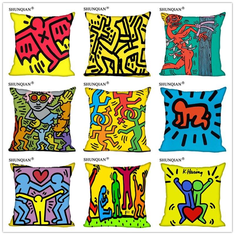 Customized Pillow Cover Keith Haring Decorative Pillowcase Square Zipper Pillow Cover 20X20cm 35X35cm 40x40cm