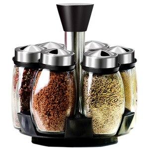 Image 5 - 1 Set Glass Spice Jar Rotating Seasoning Box Salt Sugar Pepper Shaker Condiments Storage Bottle Holder Kitchen Gadget
