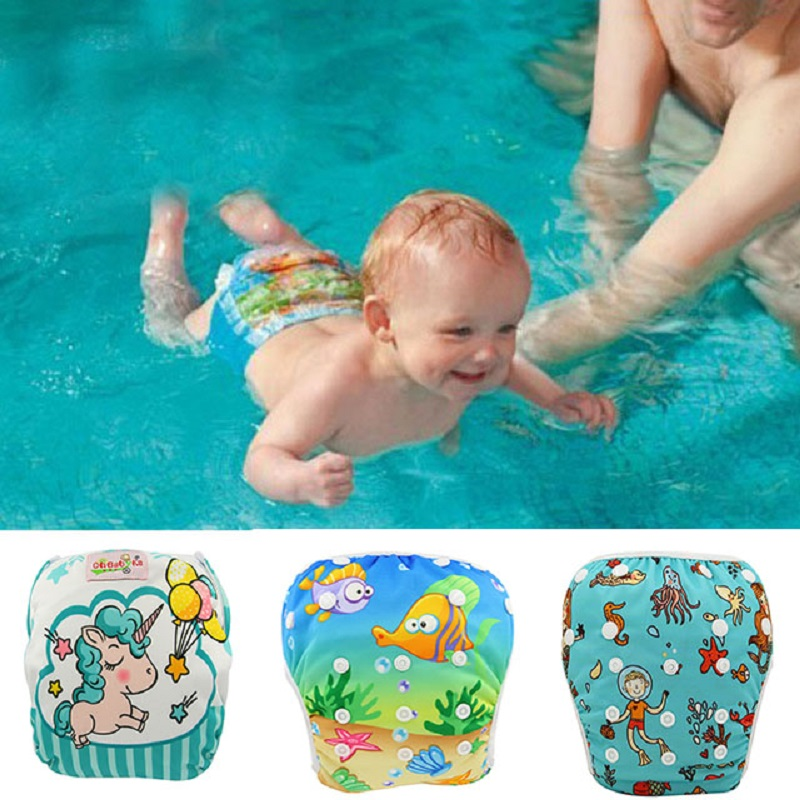 Couche Lavable Baby Swim Diaper Cover 2020 Unicorn Animal Printed Adjustable Waterproof Cloth Diapers Reusable Nappies Newborn