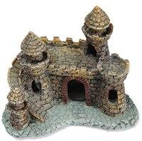 Hot Mini Resin Cartoon Castle Aquariums Decorations Castle Tower Ornaments Fish Tank Escape Hole Aquarium Accessories