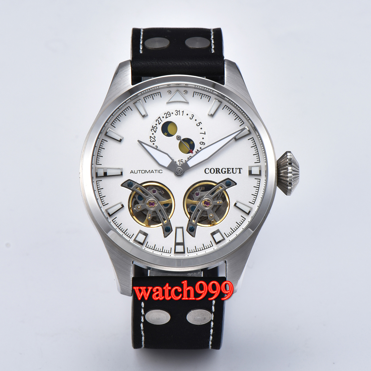47mm Corgeut flywheel Mechanical Automatic Mens Watch white dial Date Luminous Leather strap watch men