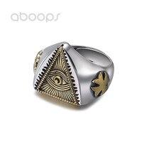 Two Tone 925 Sterling Silver Freemason Masonic Ring Golden All Seeing Eye & Cross for Men Women Adjustable 7.5 10 Free Shipping