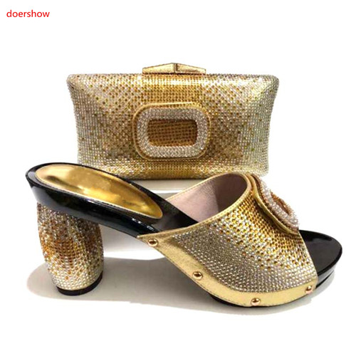 doershow African gold PU Shoes And Bag Matching Set With Stones Shoes Women Italian Shoes And Bag Set For Party Wedding SA1-4doershow African gold PU Shoes And Bag Matching Set With Stones Shoes Women Italian Shoes And Bag Set For Party Wedding SA1-4