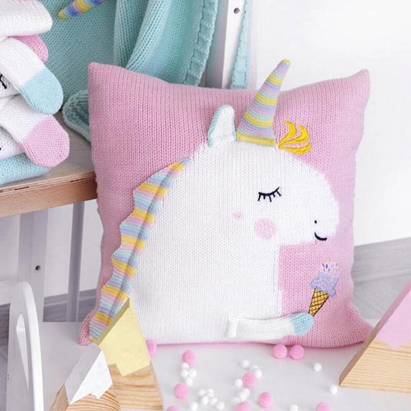 Baby Knit Cushion Pillow Cartoon Three-dimensional Unicorn Sofa Pillows Children Photography Prop Bedding Decorative Cushions
