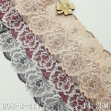 40yards Embroidered Mesh Lace Fabric Polyester lace Fabric 3D Lace Embroidered Flowers on Net lace embroidered mesh insert tee