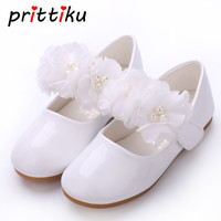 Baby Toddler Girls PU Leather White Flats Little Kid Beaded Mary Jane Casual Loafers Big Child