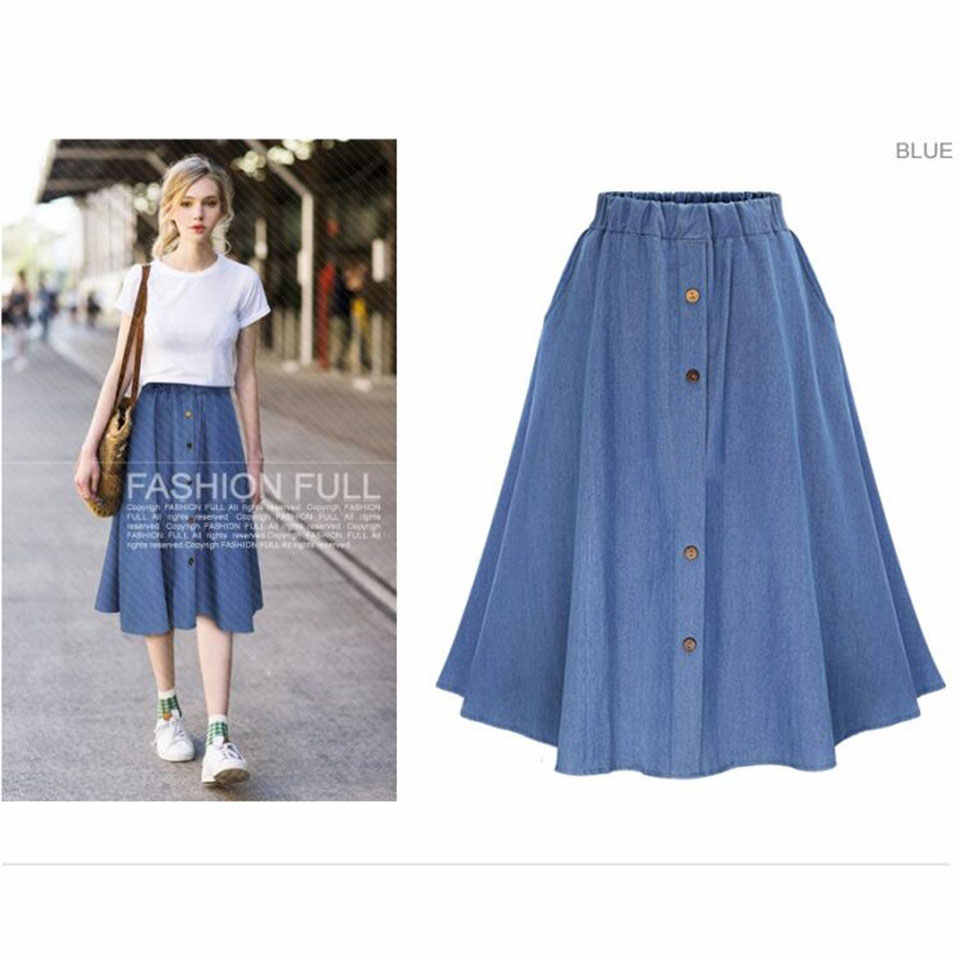 bf0039f28b7c ... Summer Women Denim Skirt 2018 Vintage Button High Waist Skirts Female  Gown Pleated Midi Knee- ...