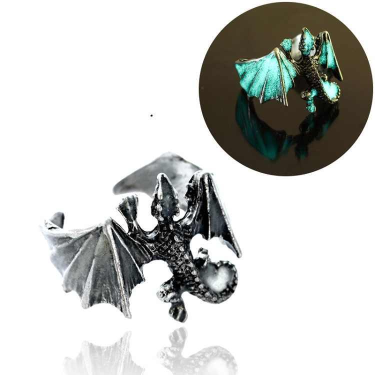 2018 แหวนแฟชั่นมังกรแหวนเรืองแสง Glow In Dark Pterosaur แหวน Ringe ทองเงิน Man เครื่องประดับ
