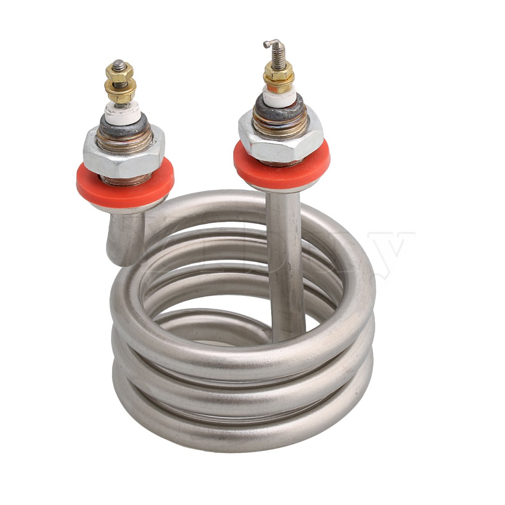 CNBTR Home Silver Tone Stainless Steel Electrical Spiral Heating Element Helix Booster For Water Heater AC 220V 2500W