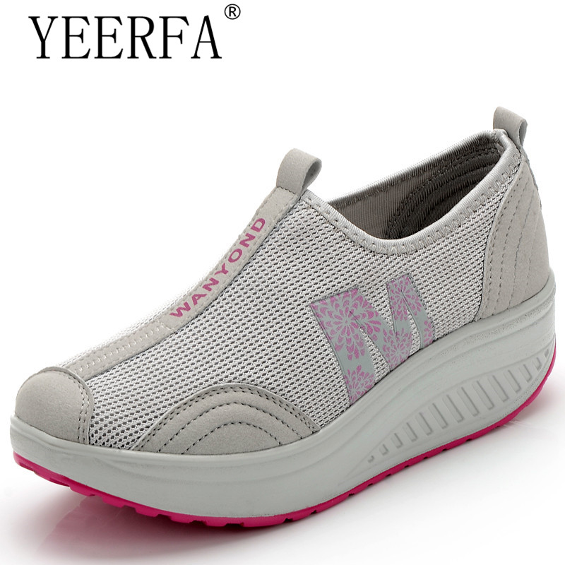 YEERFA New casual shoes woman low top height increasing slimming swing shoes summer breathable air mesh platform walking shoes