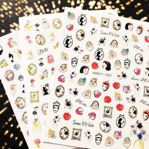 Image 2 - Hanyi Serie Sakura Bloem HANYI 87 Prinses 3d Nail Art Stickers Decal Template Diy Nail Tool Decoraties
