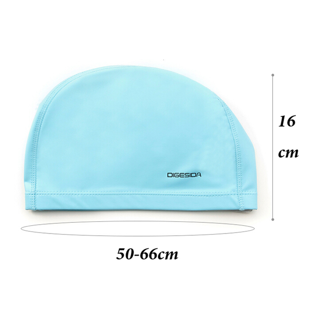 Free size Elastic Waterproof PU Fabric Swim Cap Ears Long Hair Protection Sports Swim Pool Hat Swim Capfor Men & Women