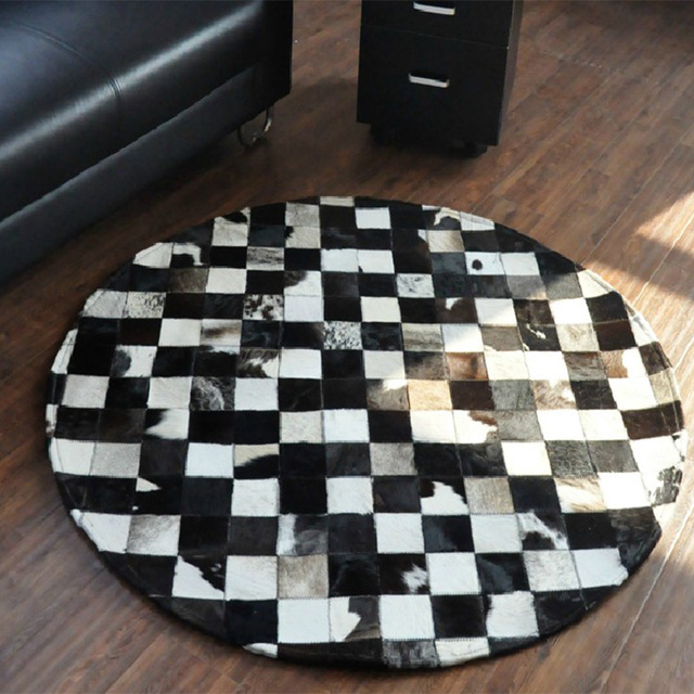 Europe Style Natural Cowhide Handmade Cow Hair Hides Patchwork Rug