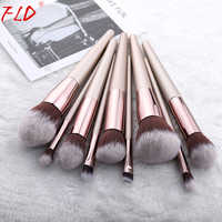 FLD 9/10 Pieces Kabuki Makeup Brushes Set For Foundation Powder Blush Eyeshadow Concealer Make Up Brush Cosmetics Beauty Tools