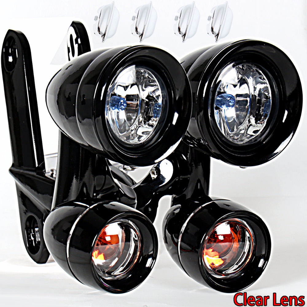 Gloss Black Fairing Mounted Driving Lights Turn Signals For Harley 1996 2013 Elctra Street Glide 1996