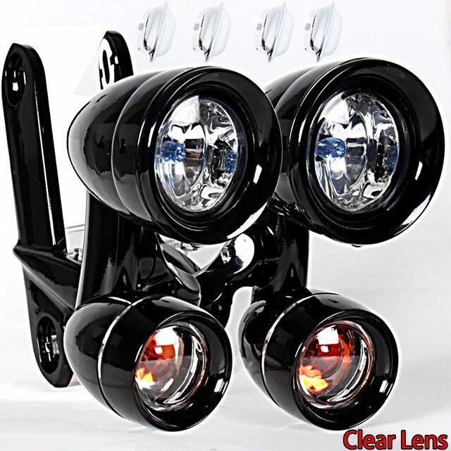 Brilho preto pisca pisca montada luzes de condução, seta sinais para harley 1996 2013 elctra street glide & 1996 2018 estrada rei rei