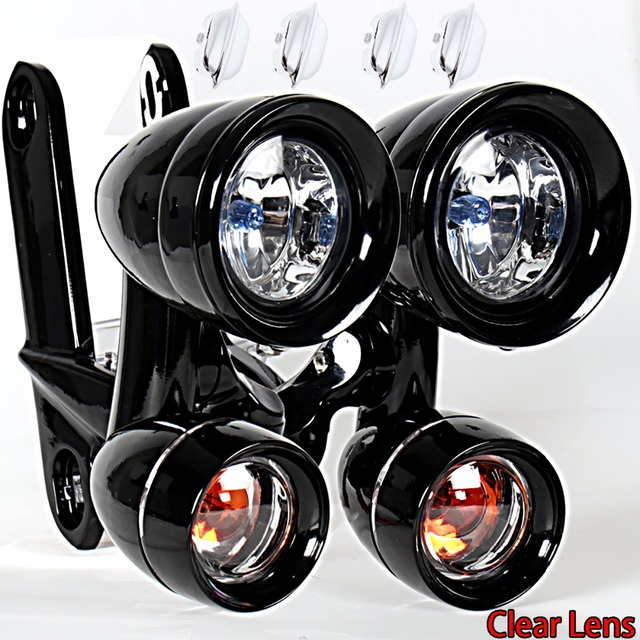 Czarny błyszczący Fairing zamontowane światła do jazdy kierunkowskazy dla Harley 1996 2013 Elctra przemieszczanie się po ulicy i 1996 2018 Road King