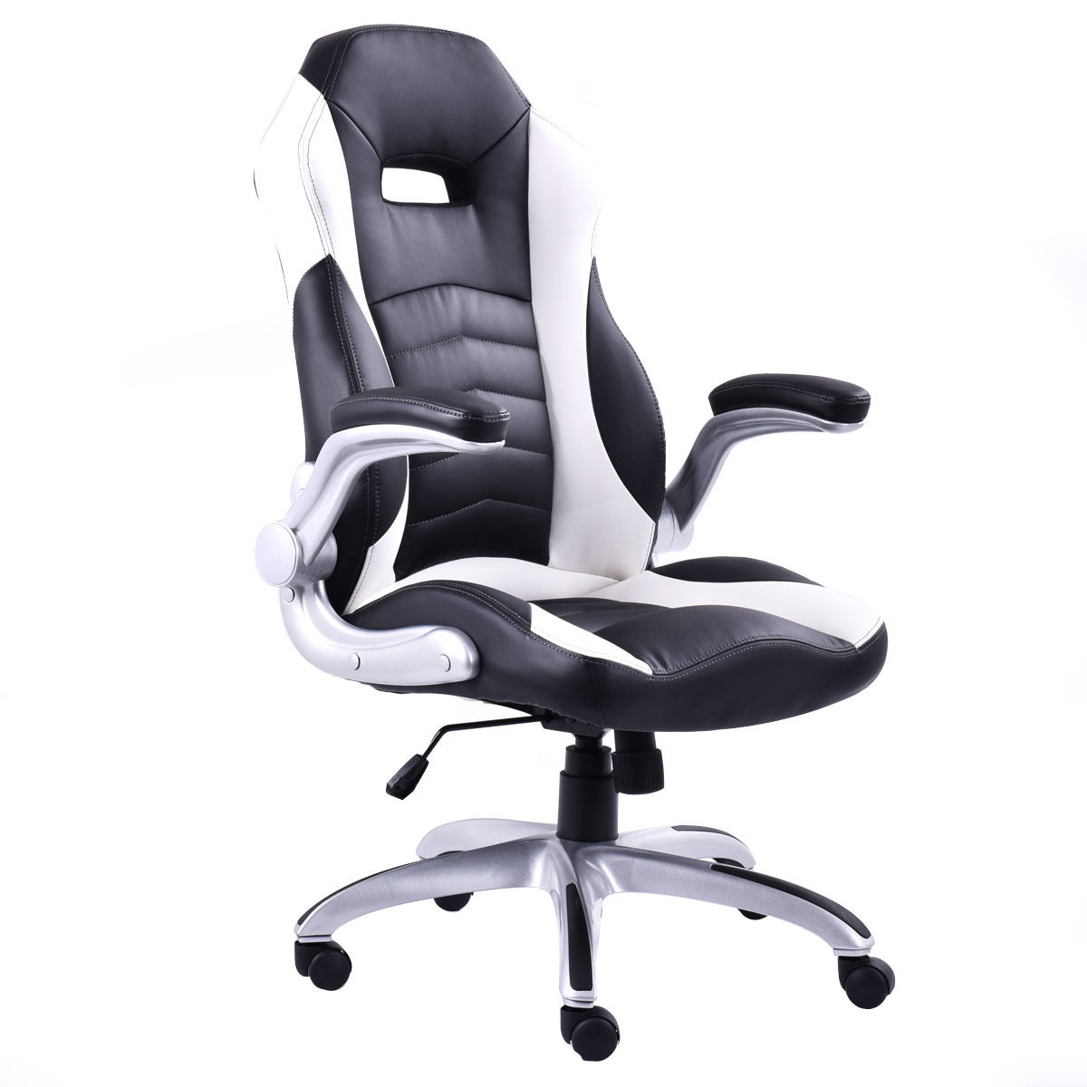 Giantex New PU Leather Executive Racing Style Bucket Seat Office Desk Swivel Chair High Quality Gaming Chairs HW52435 giantex pu leather high back racing style bucket seat gaming chair with head pillow modern office desk computer chairs hw52433