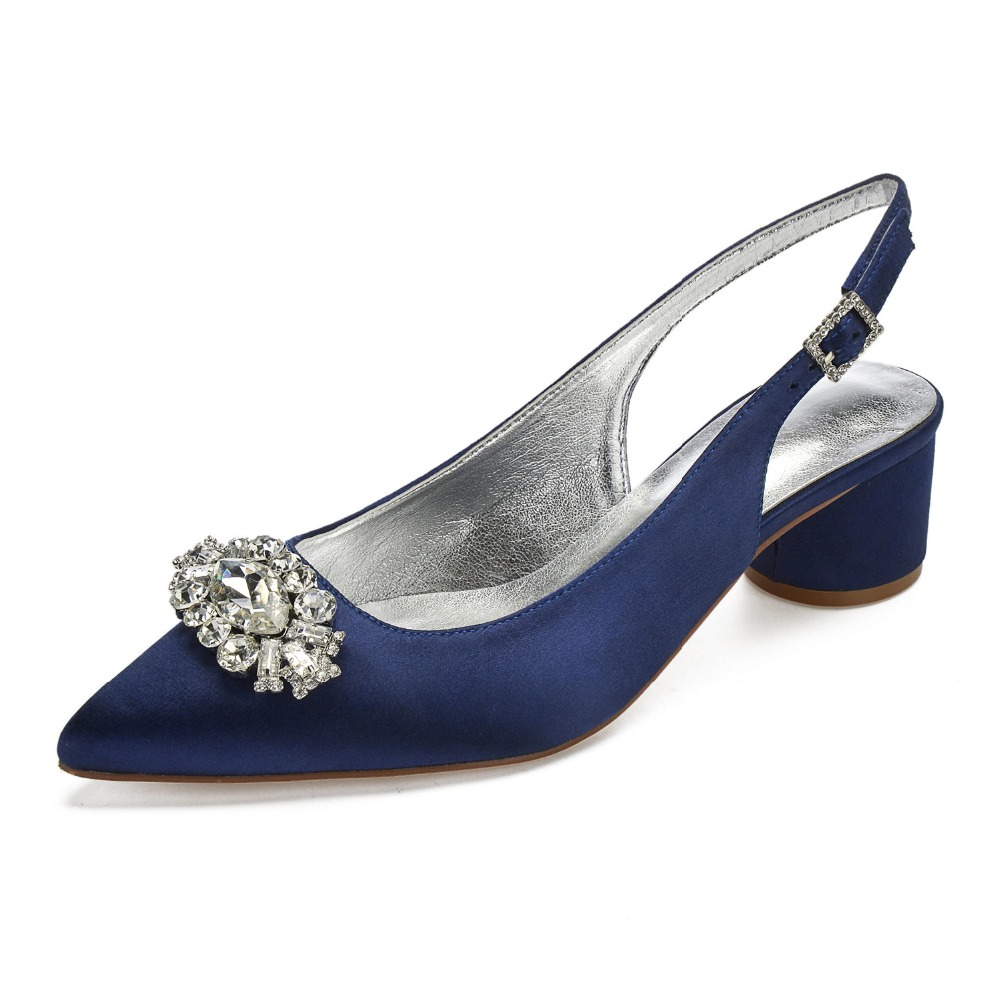 Pointed toe crystal brooch satin lady evening dress shoes slingback thick  block heels bridal wedding party a2958b5b18c8