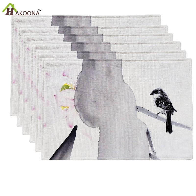hakoona unidades unidades manteles modernos pintura pincel chino aves de mesa ropa