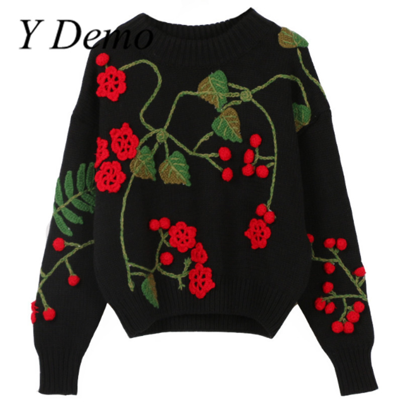 Y Demo Flower Knitted Sweaters For 2018 Vintage Autumn Long Sleeve Pullovers Round Neck Flowers Tops