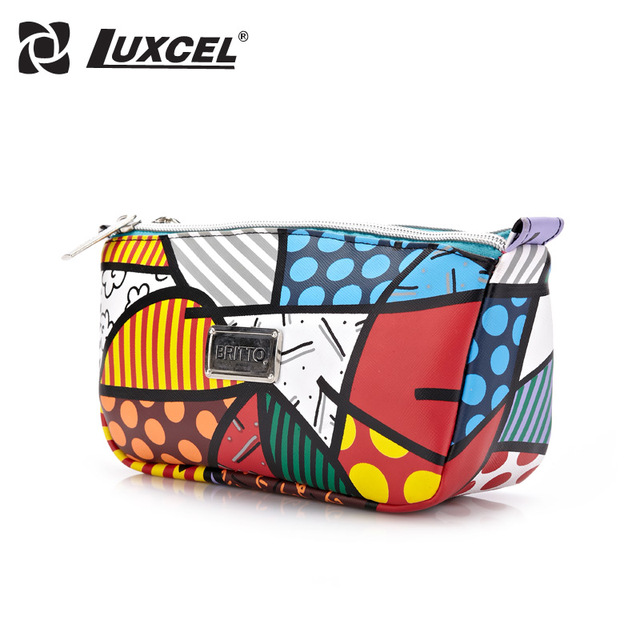 Luxcel PU leather printed Cosmetic Case Bag Large Capacity Portable Women Makeup Necessaire storage travel bag small women bag