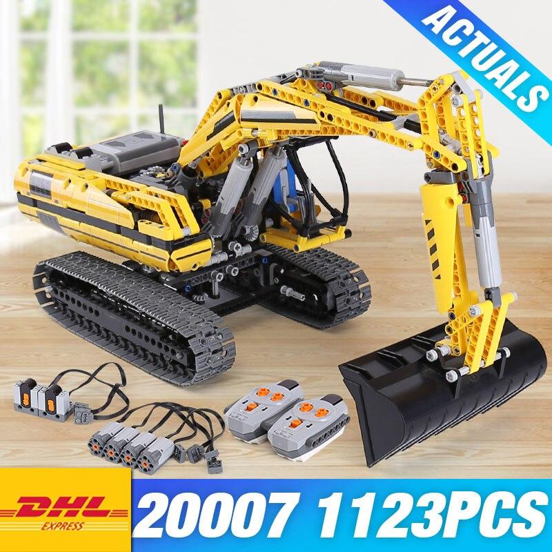 DHL educativos 20007 técnica motorizado excavadora 8043 bloques de construcción ladrillos DIY 20008 L350F cargadora de ruedas 42030 juguetes de los niños